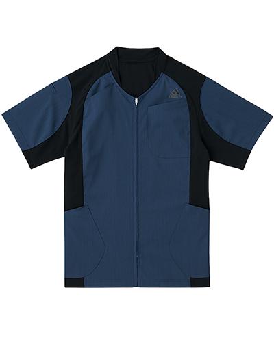 [アディダス] adidas 【着替えが容易な前開きスクラブジャケット】 男女兼用 ジャケット SMS120-18 (ネイビー×ブラック)