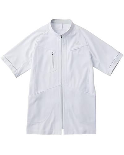 [アディダス] adidas 【カッティングにこだわったアクティブなデザインの医療ジャケット】 メンズ ジャケット SMS602-17 (ホワイト×グレー)