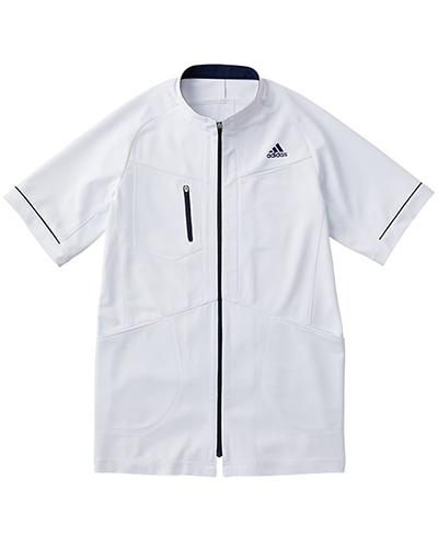 [アディダス] adidas 【カッティングにこだわったアクティブなデザインの医療ジャケット】 メンズ ジャケット SMS602-18 (ホワイト×ネイビー)
