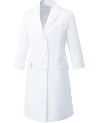 [ユナイト] UNITE 【丸みのあるラペルが女性らしいドクターコート】 レディース ドクターコート (七分袖) UN-0060   (ホワイト)