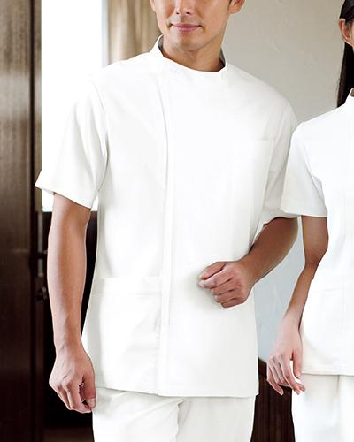 [カゼン] KAZEN (旧アプロン製品)【デザイナーズドクタージャケット】 メンズ ジャケット半袖 YW50-1 (ホワイト)