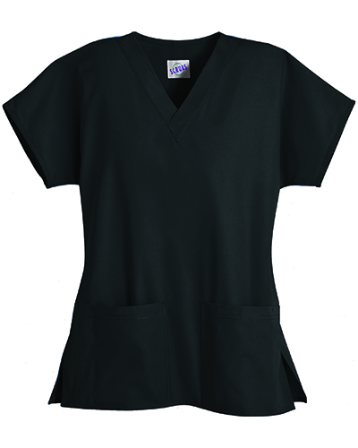 [スクラブス] S.C.R.U.B.S. 【耐久性を備えた綿100%スクラブ】  男女兼用 2ポケットスクラブ  Z2012(ブラック)