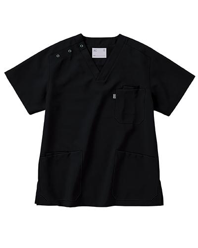 [ミズノ] MIZUNO  【制菌/制電/医療/白衣】  男女兼用 スクラブ MZ-0021 (ブラック)