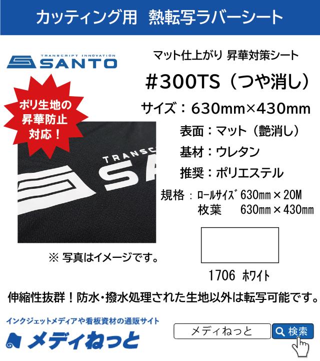 【枚葉サイズ】熱転写用ラバーシート #300TS 昇華防止対策 艶消しラバー 1706ホワイト 630mm×430mm