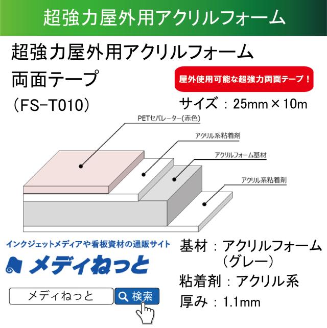 超強力屋外用アクリルフォーム両面テープ(FS-T010) 25mm×10m