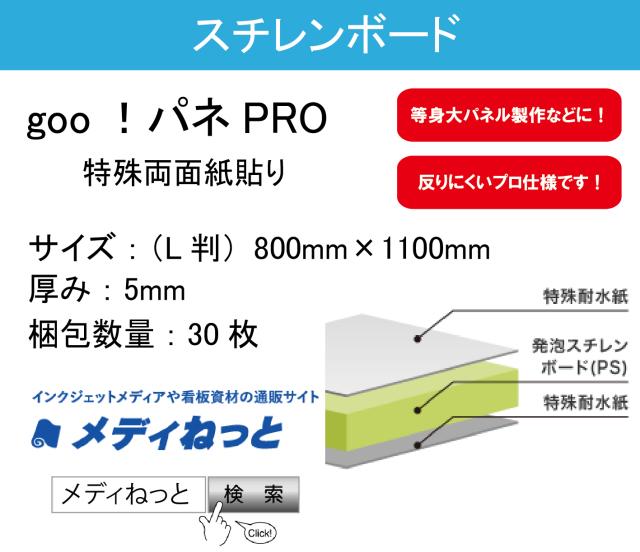 goo!パネPRO(両面紙貼り)厚み:5mm/サイズ:(L判)800mm×1100mm【30枚入り】