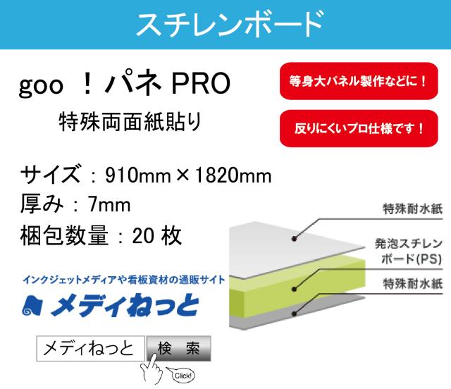 goo!パネPRO(両面紙貼り)厚み:7mm/サイズ:910mm×1820mm【20枚入り】