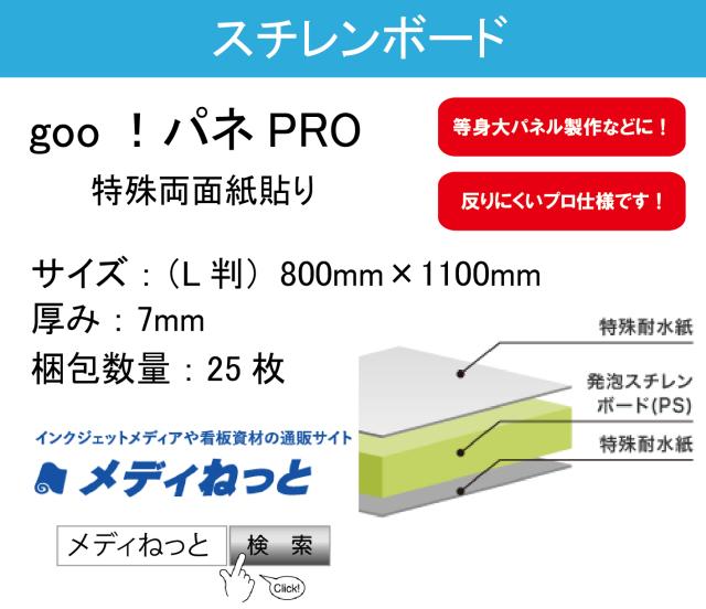goo!パネPRO(両面紙貼り)厚み:7mm/サイズ:(L判)800mm×1100mm【25枚入り】