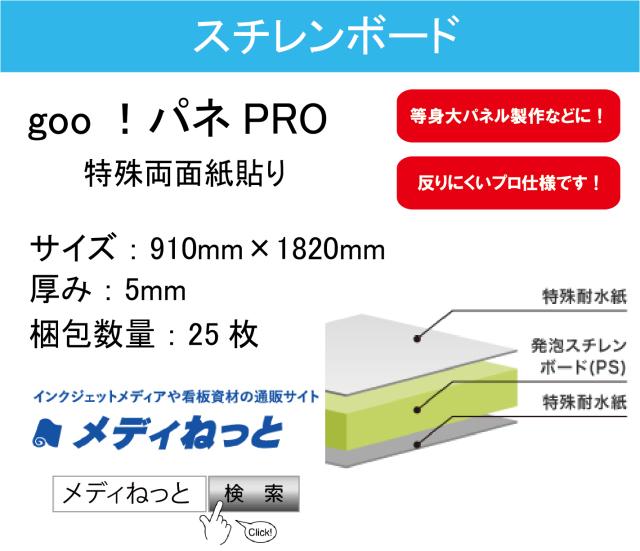 goo!パネPRO(両面紙貼り)厚み:5mm/サイズ:910mm×1820mm【25枚入り】