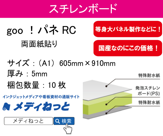 goo!パネRC(両面紙貼り)厚み:5mm/サイズ:(A1)605mm×910mm【10枚入り】