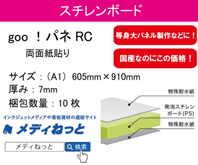goo!パネRC(両面紙貼り)厚み:7mm/サイズ:(A1)605mm×910mm【10枚入り】