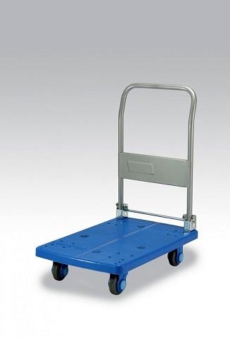 カナツー 四輪台車 PLA150-DX(青) ハンドル折りたたみ式 (静音 環境基準40dbデシベル適合商品)