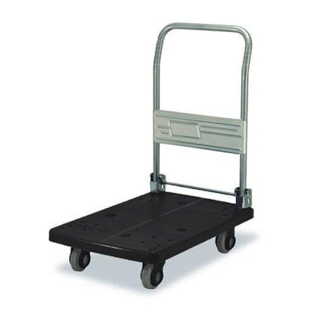 カナツー 四輪台車 PLA300-DX(ブラック/黒) ハンドル折りたたみ式 (静音 環境基準40dbデシベル適合商品)