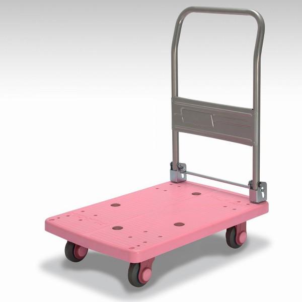 カナツー 四輪台車 PLA150-DX(ピンク) ハンドル折りたたみ式 (静音 環境基準40dbデシベル適合商品)