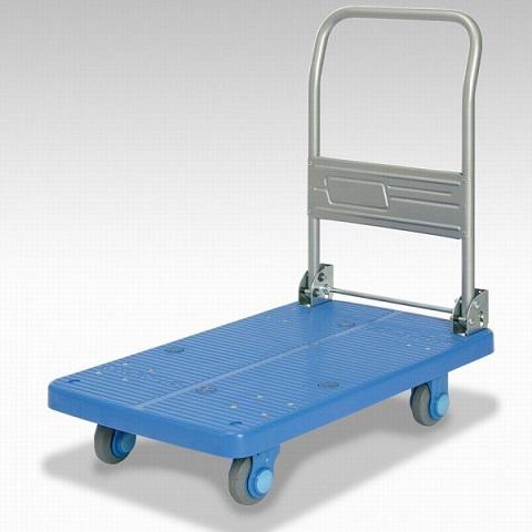 カナツー 四輪台車 PLA200M1-DX(青) ハンドル折りたたみ式 (静音 環境基準40dbデシベル適合商品)