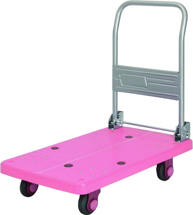 カナツー 四輪台車 PLA200M1-DX(ピンク) ハンドル折りたたみ式 (静音 環境基準40dbデシベル適合商品)