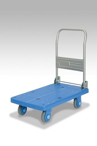 カナツー 四輪台車 PLA250-DX(青) ハンドル折りたたみ式 (静音 環境基準40dbデシベル適合商品)