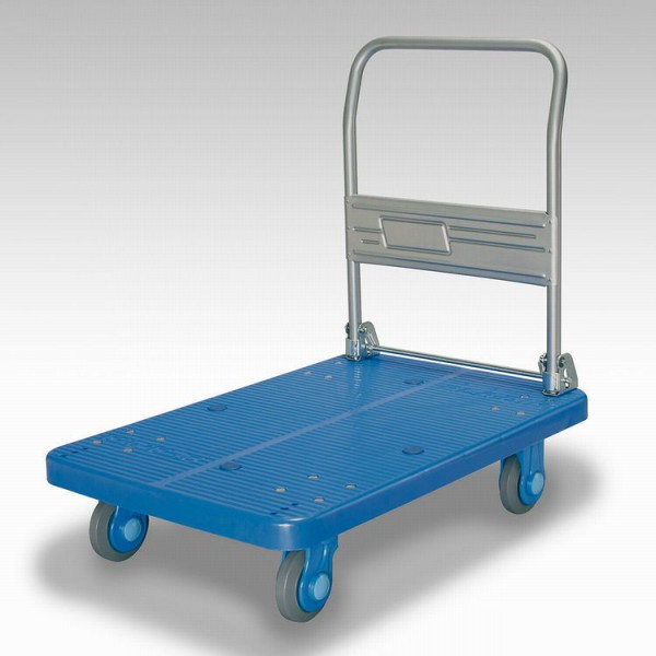 カナツー 四輪台車 PLA300-DX(青) ハンドル折りたたみ式 (静音 環境基準40dbデシベル適合商品)