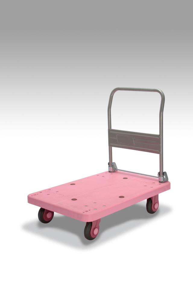 カナツー 四輪台車 PLA300-DX(ピンク) ハンドル折りたたみ式 (静音 環境基準40dbデシベル適合商品)