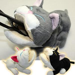【可愛い】【柔らかい】ぬいぐるみタイプの可愛いメガネケース(眼鏡ケース)I-4 アニマルスタンド ネコシリーズ<内側には超極細繊維を使用した眼鏡にやさしいメガネスタンド>【猫】