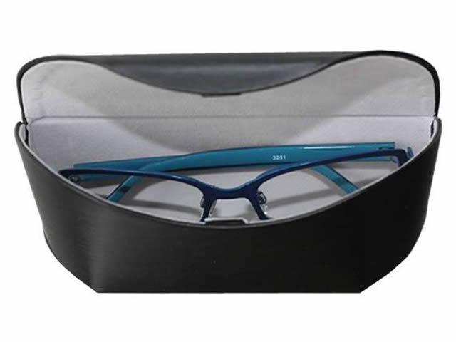 艶のある表面生地が特徴の大型メガネケース(眼鏡ケース) D-505 クローム