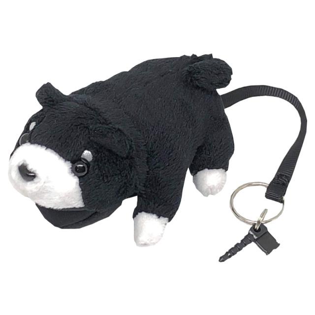 【可愛い】【柔らかい】マイクロファイバー携帯画面クリーナーにも最適 I-104 「アニマルクリーナー犬」黒シリーズ