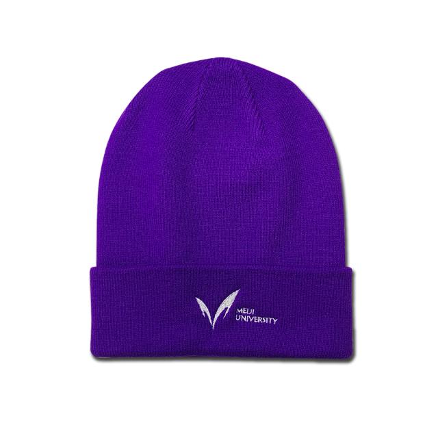 ◇ニットキャップ・新ロゴ【紫】折り返しあり