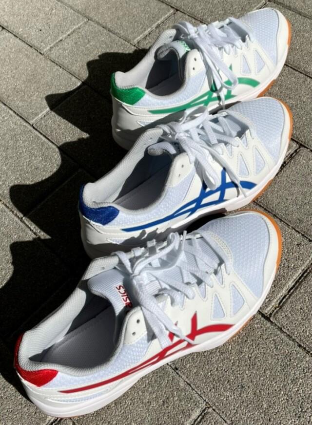 ●中    運動靴 体育館シューズ 青22.5cm