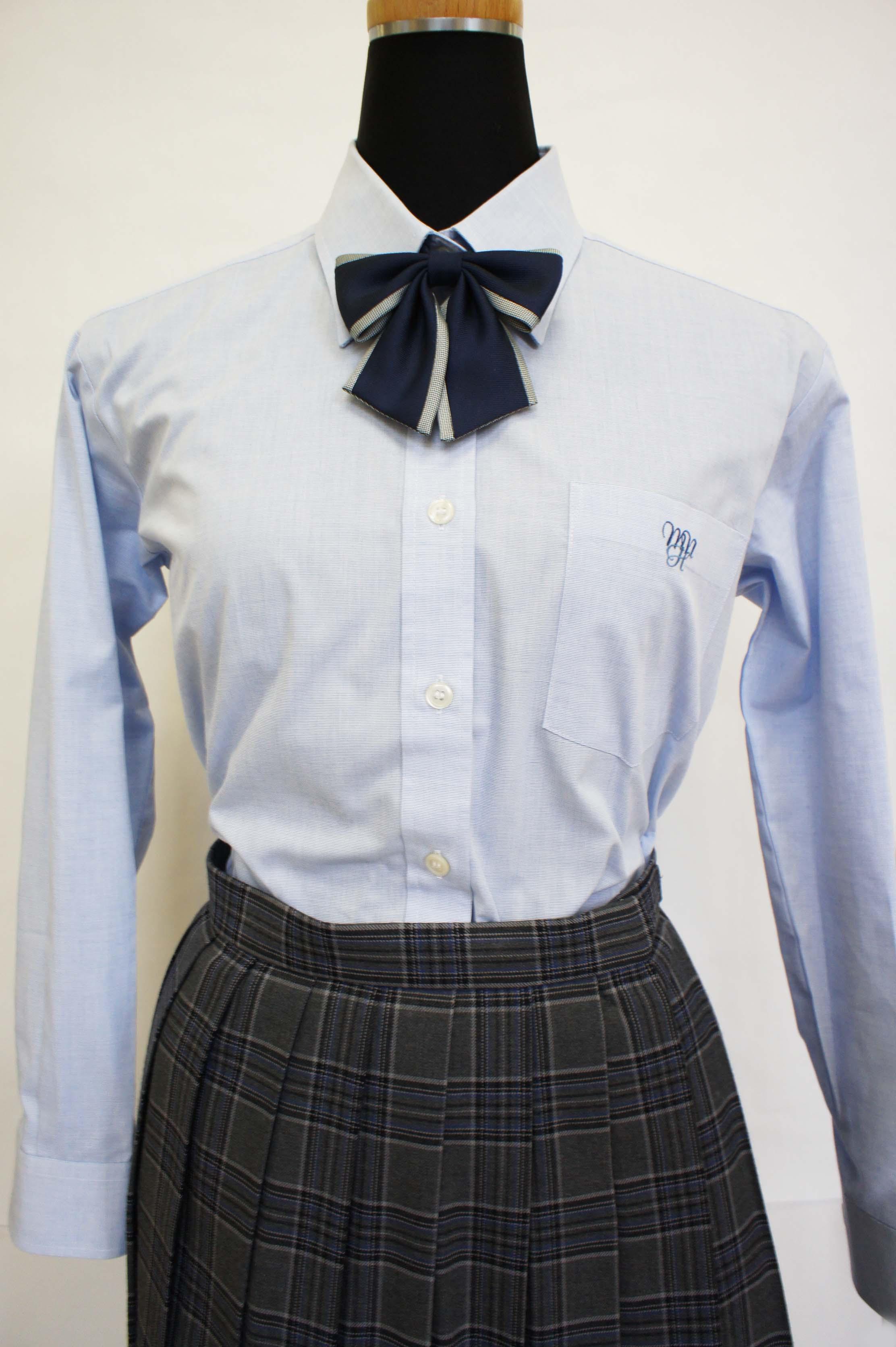 八 長袖ブラウス ブルー L