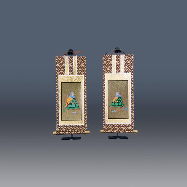 オリジナル掛軸 茶表装 金地 脇掛2枚1組セット