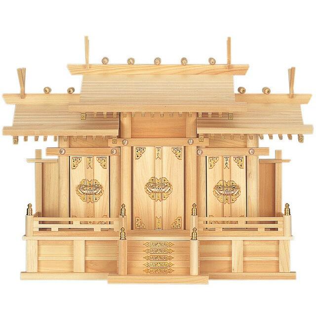 【全部揃ったピッタリサイズの神具一式セット付】【set-02】【三社神棚】屋根違い 三社造り