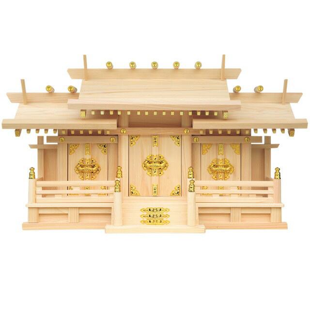 【全部揃ったピッタリサイズの神具一式セット付】【set2】【三社神棚】
