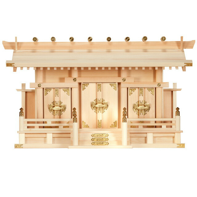 【全部揃ったピッタリサイズの神具一式セット付】【set-03】【三社神棚】