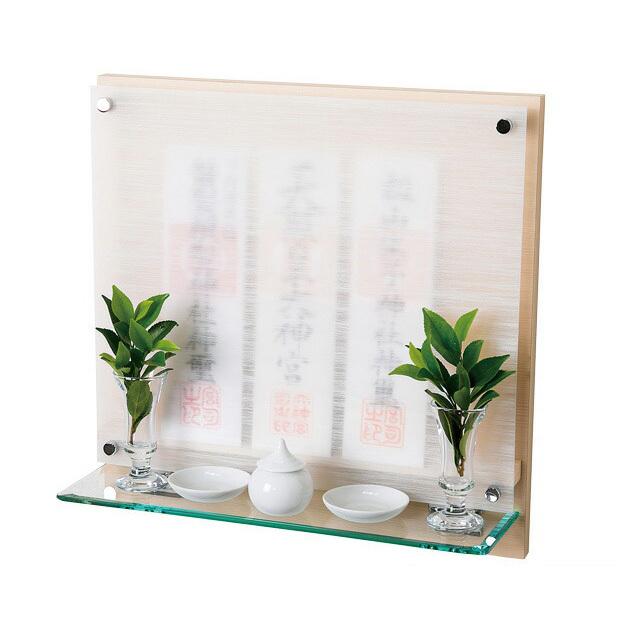 モダン神棚 壁掛けタイプ Neo110G ヒノキ 薄型 高さ36.5cm×幅36.5cm×奥行12cm■簡単取付 変色しにくい アルミ取付