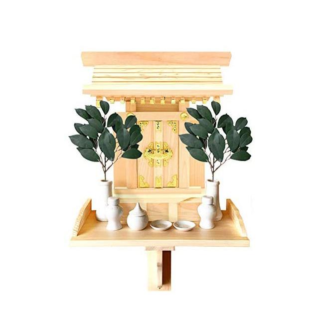 【全部揃ったピッタリサイズの神具一式セット付】一社神棚 中天理 ■中天理本体・棚板(持ち送り式)・神具7点セット(小)・人工榊 一対