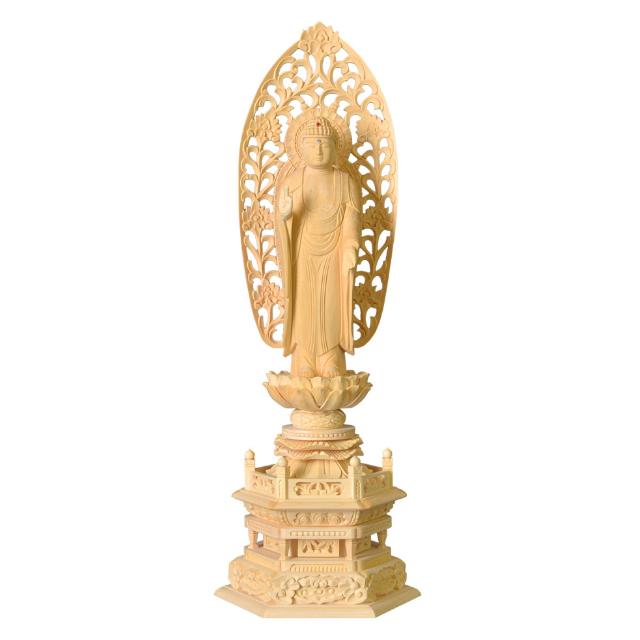 仏像 白木 舟立弥陀