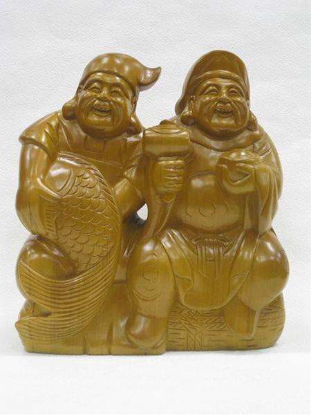 木彫り 恵比須・大黒(特大)