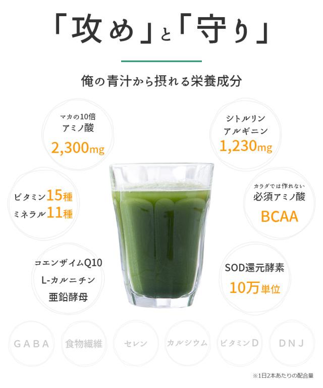 俺の青汁から摂れる「攻め」と「守り」の栄養成分がたっぷり