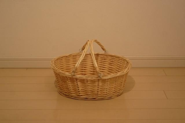 柳 手付き楕円バスケット