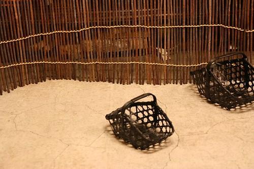 黒竹四つ目 ミニ手付きカゴ