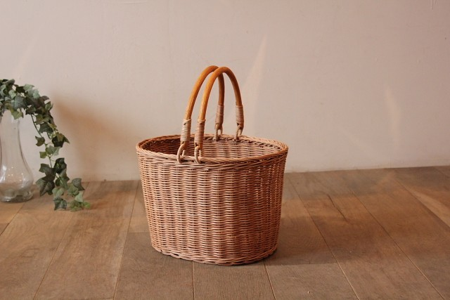 ラタン 楕円MERRY HANDLE BASKET
