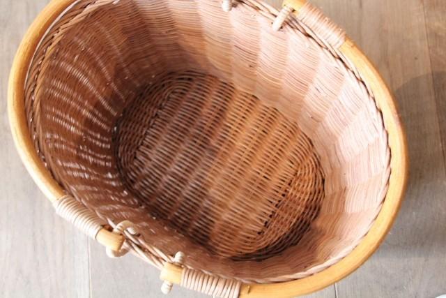 ラタン 楕円MERRY HANDLE BASKET