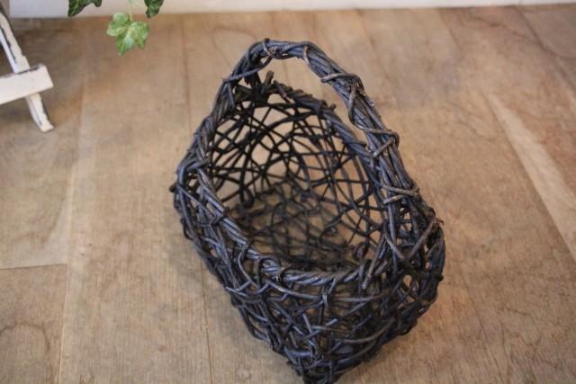 山籐 透かし 乱れ編み花かご