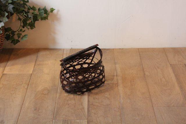 塗り竹 ワンハンドルバスケット