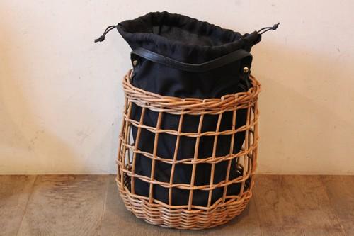 アラログ透かし編みレザーハンドルかごバッグ