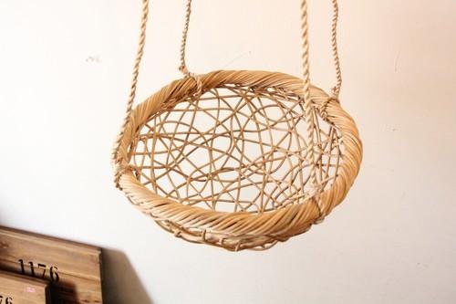 籐ラタンの乱れ編みハンギングバスケット
