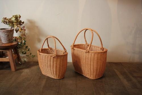 ラタンの籐編みお買い物かごバッグ