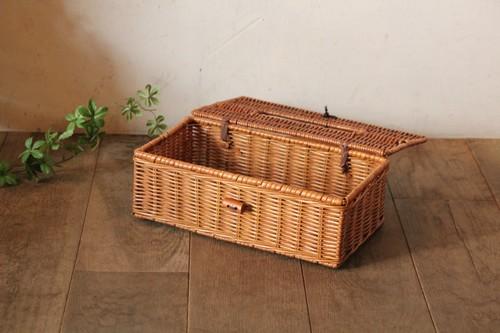 籐のラタンふた付きティッシュケースボックスバスケット