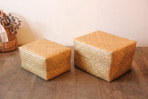 水草のボックス型フタ付きかご