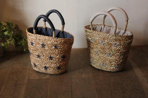 シーグラスの星刺繍かごバッグ